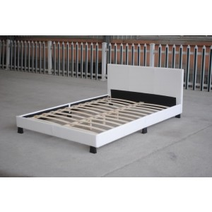 Monica PU Leather Single Bed Frame, Modern Design-White