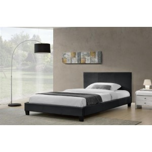 Monica PU Leather Double/Queen Bed in Matt PU - White/Black