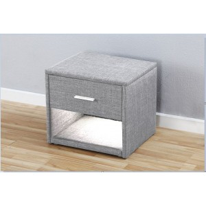 Nicole Fabric Bedside Table with LED Lighting