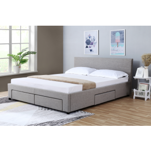 Nicole Upholstered Fabric Queen Bed with Drawers
