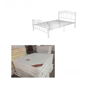 Queen Bed Package, Cleveland Queen Bed (Black / White) + Queen Mattress 200