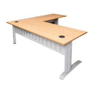 Rapid Span Desk with Return RCDR1818 - White/Beech Top with Silver C Leg