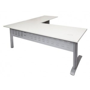 Rapid Span Desk with Return RSDR1818-White/Beech Top with Span Leg