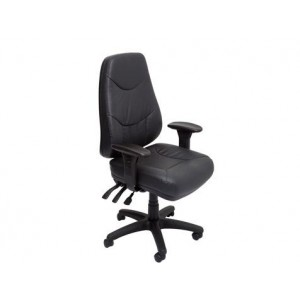Rapid Executive Chair LANDERL - Black Leather, Heavy Duty