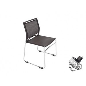 Rapid Mesh Stackable Visitors Chair PMVBK - Chrome Sled Base Linking