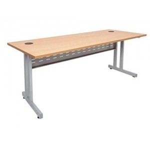 Rapid Span Desk  With Silver C Leg - Beech / White