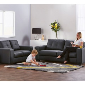 Priceworth 2 and 3 Seater PU Leather Sofa Set - Black, Comfortable & Cheap & Fast Delivery, Buy Now, Pay Later