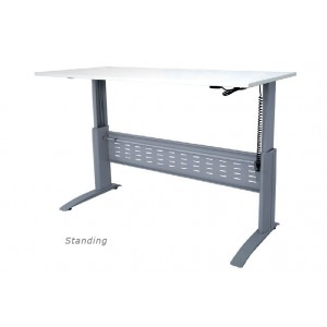 Rapid Electric Sit/Stand Height Adjustable Desk , Beech/White Top, Silver Legs
