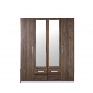 Zetland 4 doors Wardrobe/Storage/Cabinet with Mirror, Buy Now, Pay Later