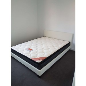 Queen Bed Package, Monica PU Leather Queen Bed (Black / White) + Luna 1580 Pillow Top Queen Mattress