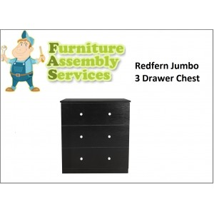 Redfern Big Size 3 Drawers Chest, Deep Drawers Assembly Service